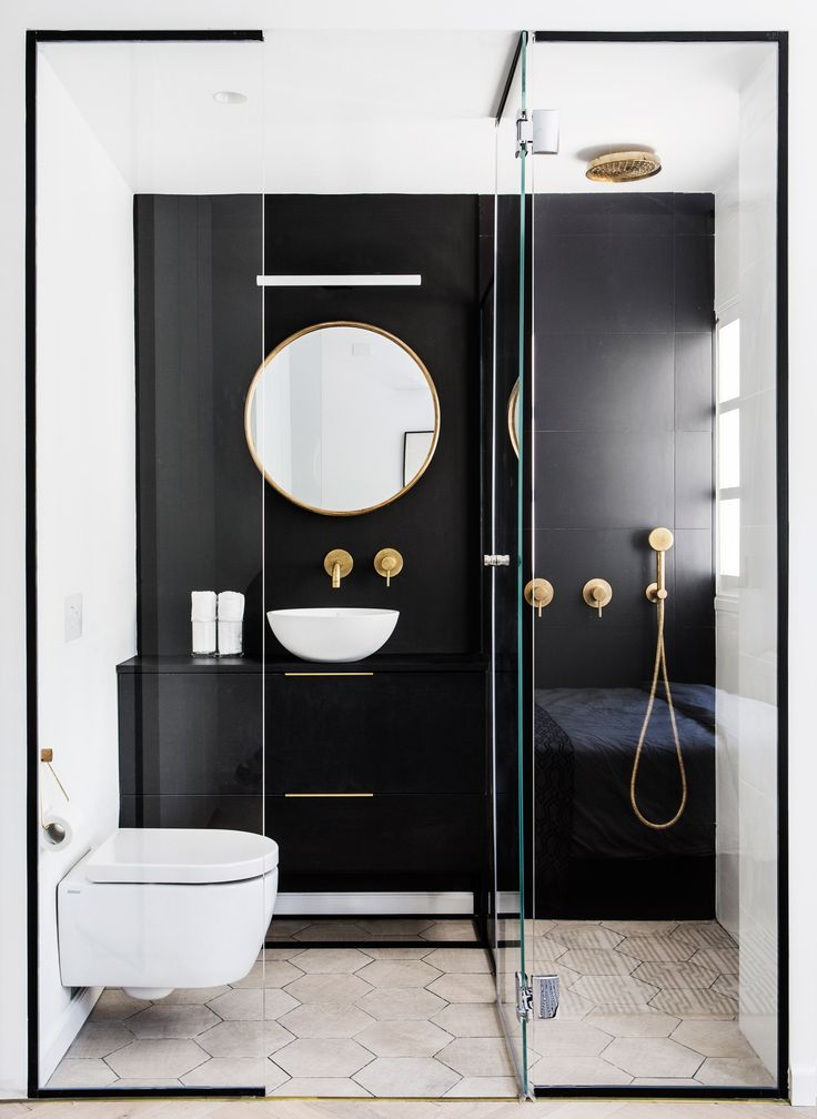 bain noir blanc dore decor alert
