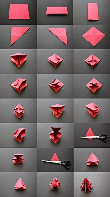 Origami Christmas tree directions
