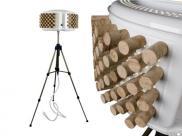 Lámparas hechas con el tambor de la lavadora y corchos, de Rewashlamp