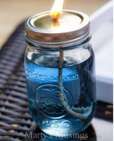 5. Citronella candles made with Mason jars