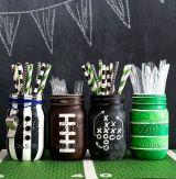 14. Football Party Mason Jars