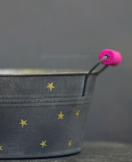 10. Plant pot painted in bright gold yellow and pink
