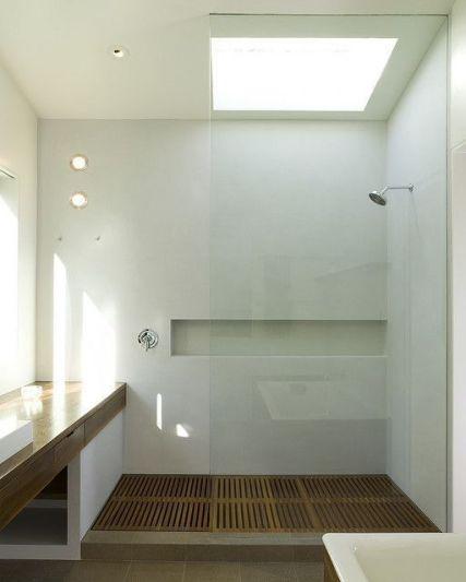 Plato de ducha de lamas de teka, muy cálido