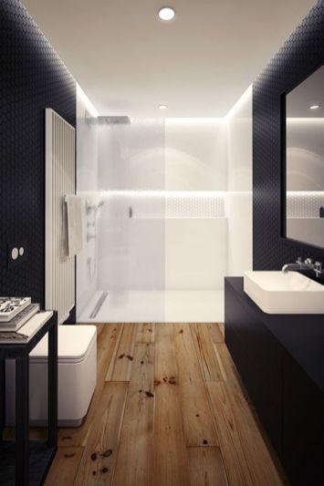 Plato de ducha sintético, al igual que las paredes