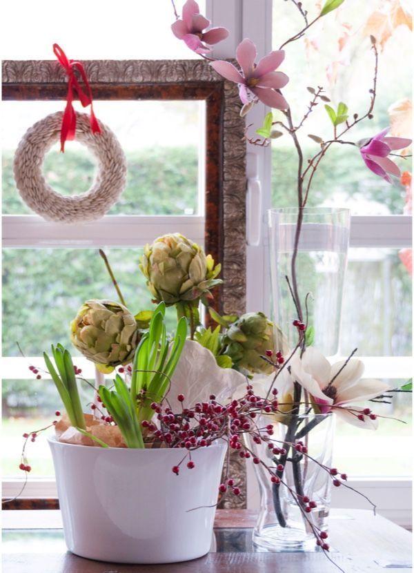 Arreglo floral para bodegón navideño