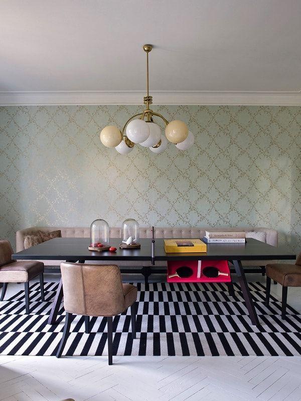 Casa ecléctica y vintage - comedor con mesa de ping-pong