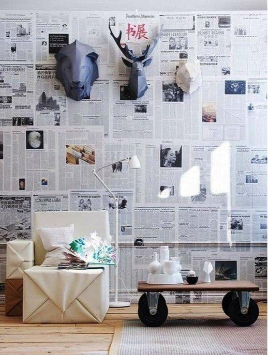 renovar las paredes con papel reciclado