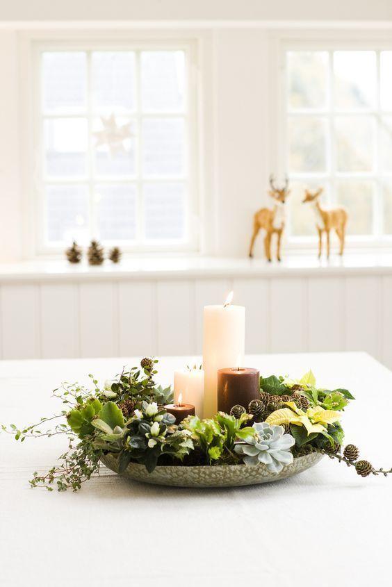 Arreglo floral con Poinsetia, suculentas, crokia y abeto