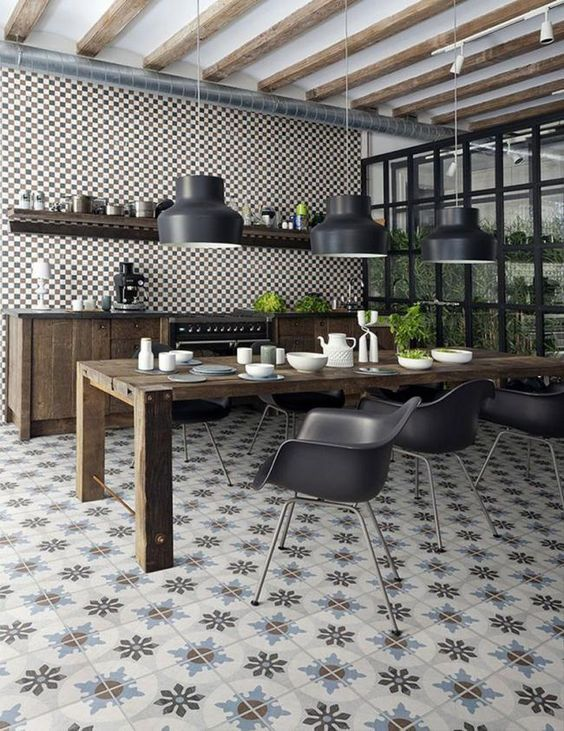 cocinas abiertas con mesa de comedor