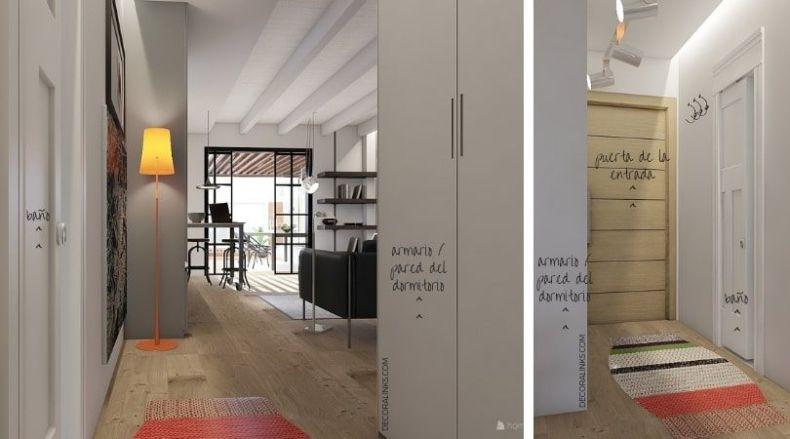 decoralinks   reforma de un apartamento en Barcelona, hall y vestidor