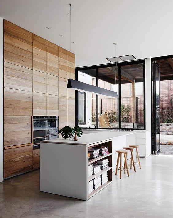 cocinas abiertas con muebles de suelo a techo
