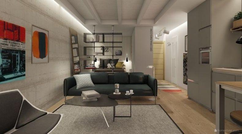 decoralinks | reforma de un apartamento en Barcelona, salon y dormitorio