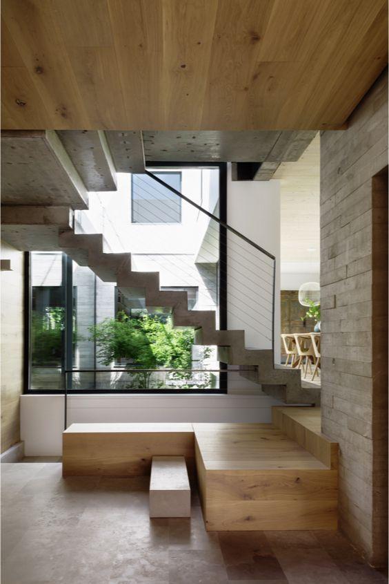 escaleras Abaton de hormigon y madera