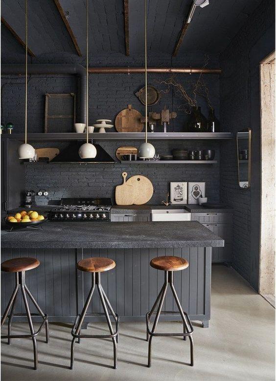 decoralinks | cocinas negras estilo industrial
