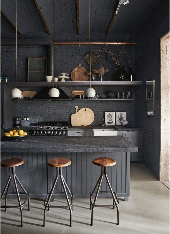 decoralinks | cocinas negras estilo industrial