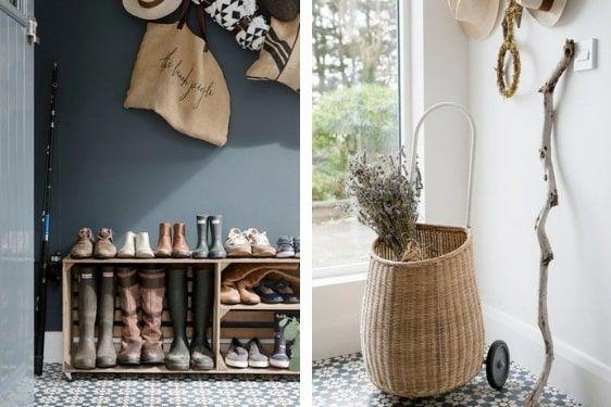 decoralinks   hall con cajas para dejar zapatos y cesto con ruedas