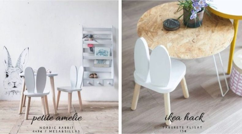 muebles estilosos a precios de mercadillo - sillitas bunny
