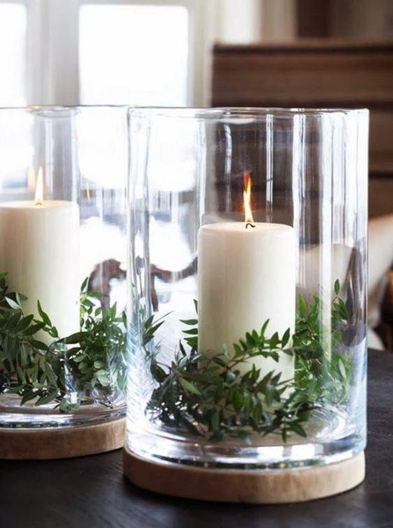decoralinks | Navidad en verde - portavelas con ramas verdes