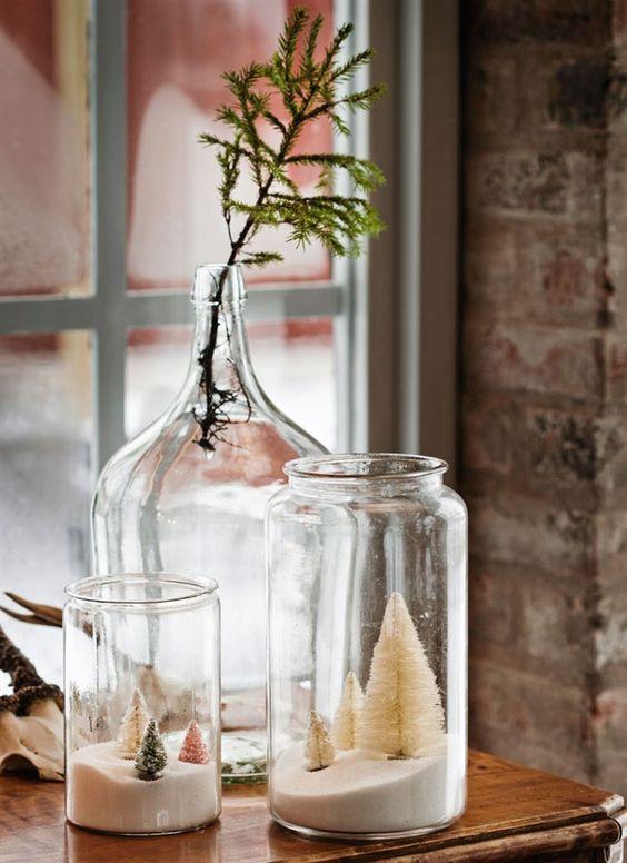 decoralinks | Navidad en verde - arboles navidad en botes de cristal