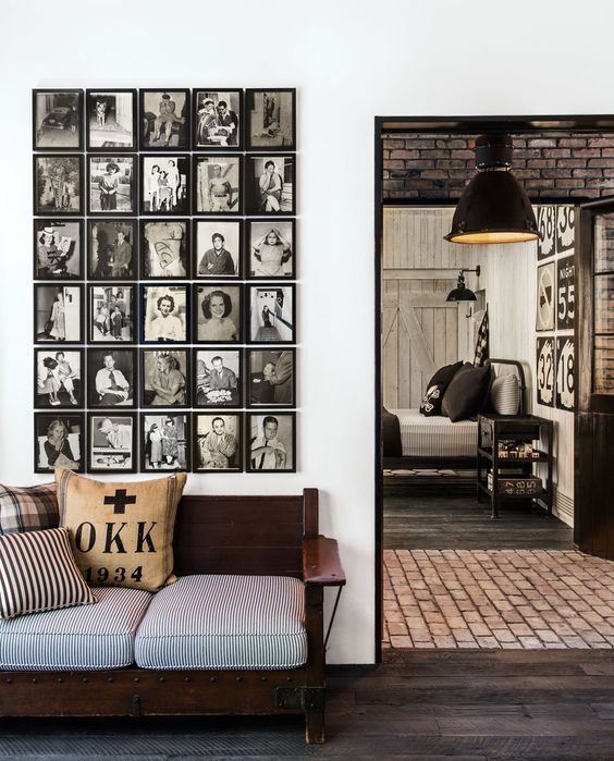 decoralinks | Great mural made of black and white photos in Diane Keaton's brick house
