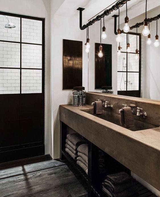 decoralinks | industrial bathroom with diy lamp and metro tiles