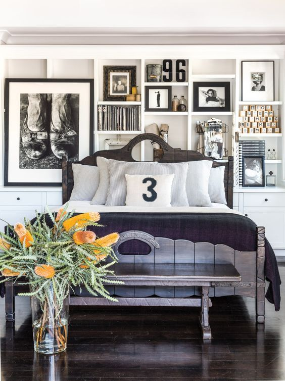 Diane Keaton's master bedroom at her home in Pacific Palisades, CA.