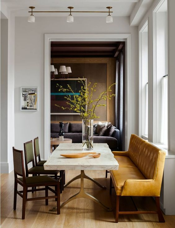 decoralinks | mustard bench in the dining and spiced honey in the living