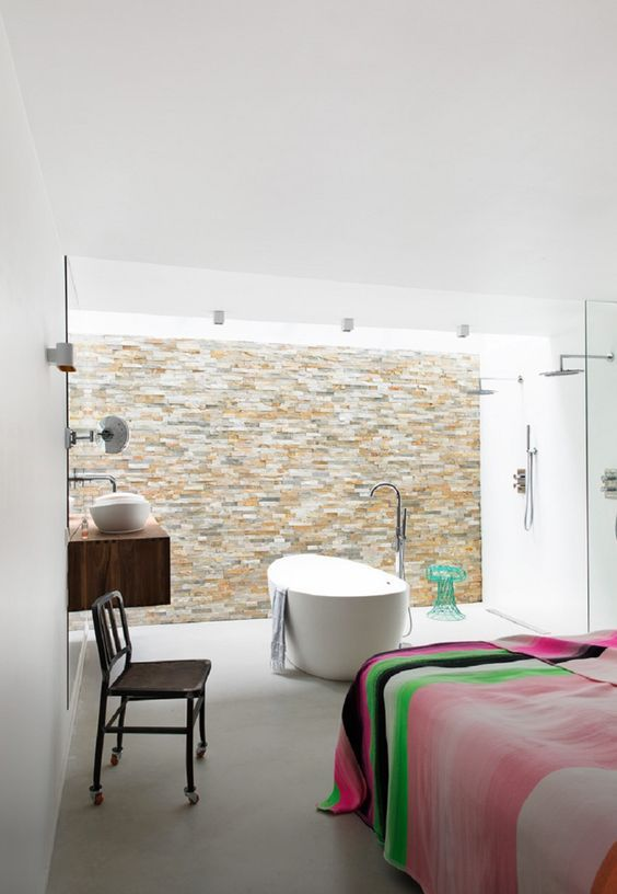decoralinks | bathroom detail open to the bedroom - house in AMsterdam