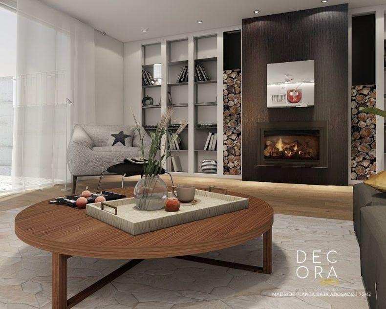 decoralinks   reforma de adosado en Madrid - salon con chimenea