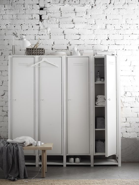 decoralinks | white locker storing clothes and shoes