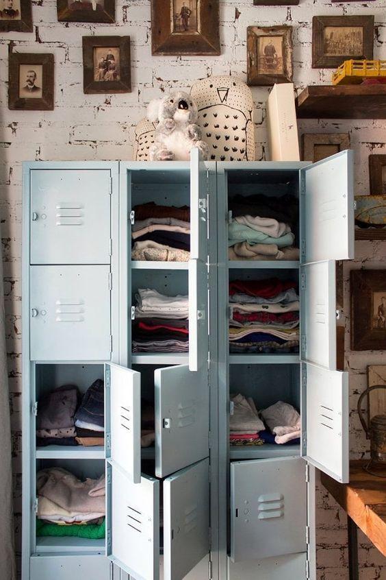 decoralinks   repurposed pale blue locker storing baby clothes
