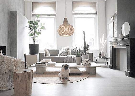 decoralinks   salon con lampara de mimbre