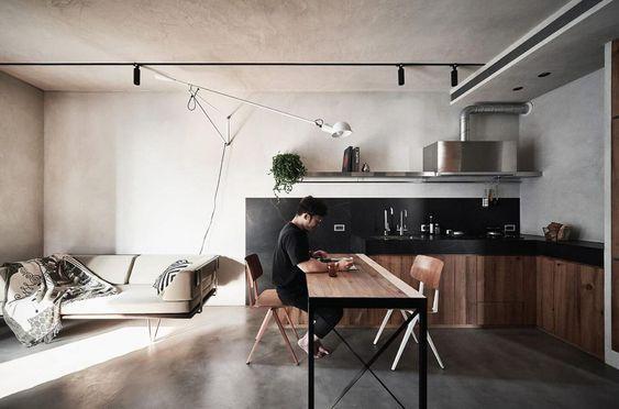 decoralinks | cocina de madera con mesa extraible