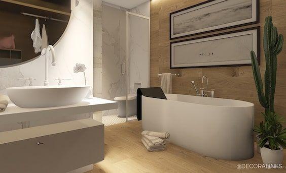decoralinks | bathroom design using marble and wood - by Decoralinks Studio