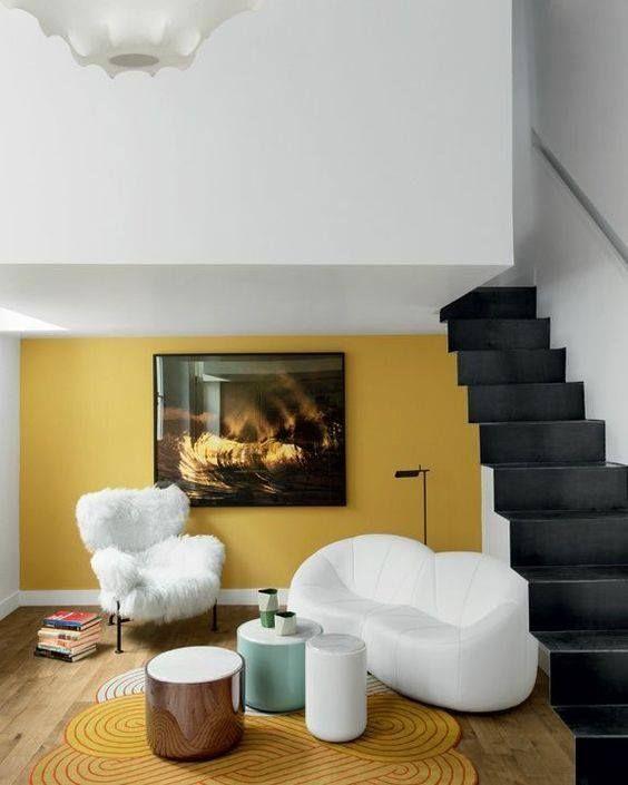 decoralinks | combinaciones color antidrepresivas - pared amarillo mostaza en salon