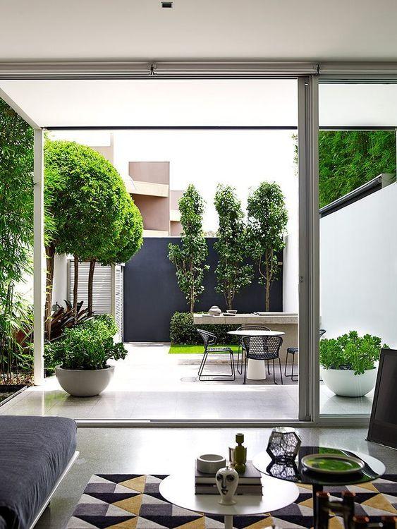 decoralinks | patio en blanco y negro algo minimalista