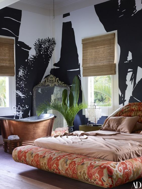 decoralinks   casa de Lenny Kravitz en Brasil - dormitorio con mural de palmeras