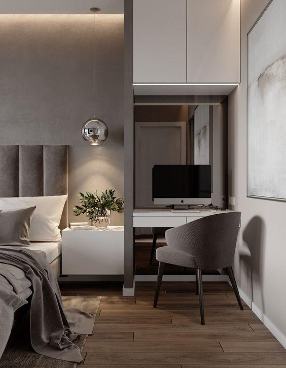 decoralinks | espacio improvisado para teletrabajar con un escritorio en el dormitorio