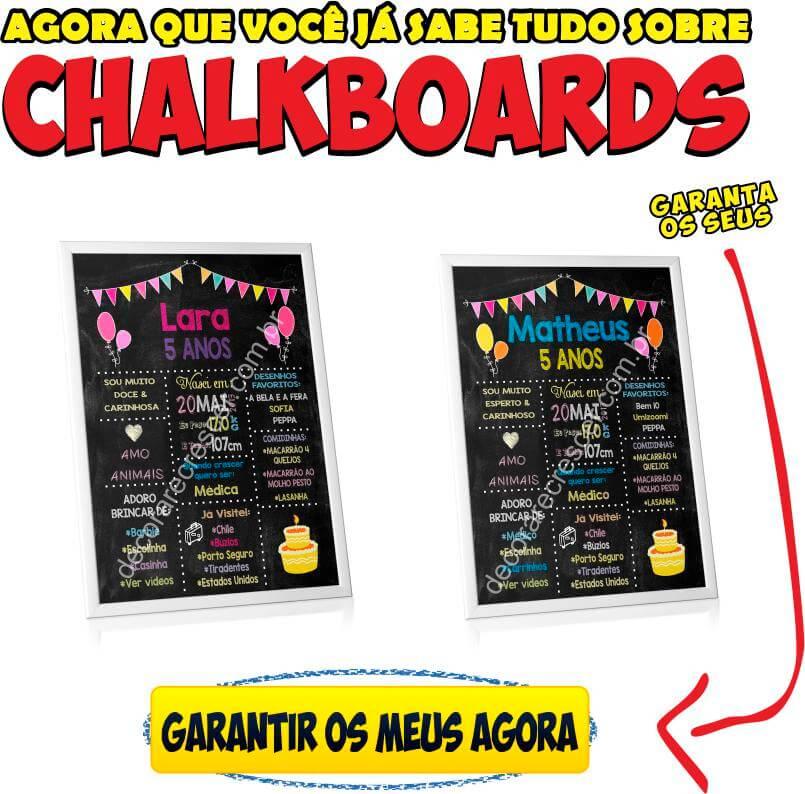 chalkboard aniversário infantil