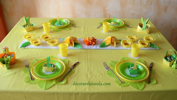 tavola apparecchiata per Pasqua