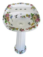 scented garden painted floral traditional pedestal lavatory
