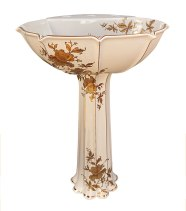 Gold orchids on kohler anatole pedestal lavatory painted sink