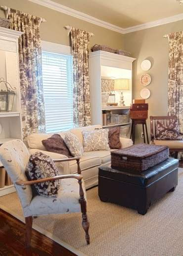 toile curtains and cushions