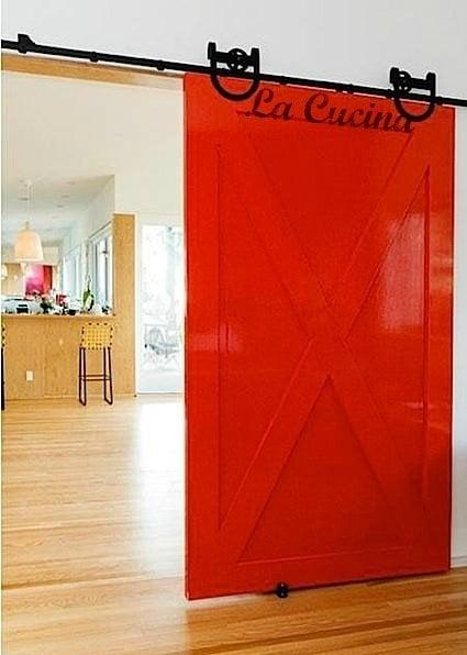 red distressed barn doors