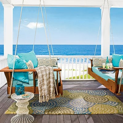 porch entertaining - outdoor rugs