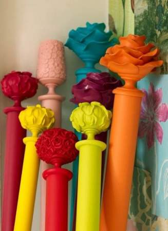 Colored finials and curtain rods