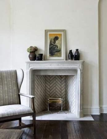 herringbone brick fireplace