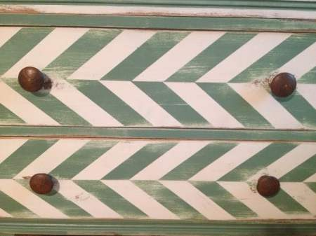 painted herringbone pattern dresser
