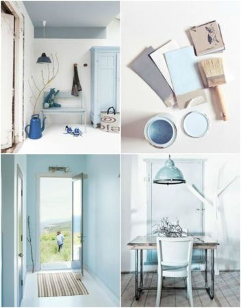 Using blue with gray and white