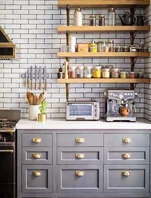 add brass pull hardware to this kitchen cabinet